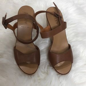 J. Crew Brown Ankle Strap Wedge Sandal